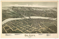 Oil City, Pennsylvania 1896 Bird's Eye View - Old Map Reprint