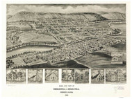 Orbisonia and Rockhill, Pennsylvania 1906 Bird's Eye View - Old Map Reprint