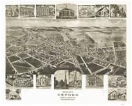 Oxford, Pennsylvania 1907 Bird's Eye View - Old Map Reprint