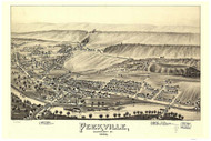 Peckville, Pennsylvania 1893 Bird's Eye View - Old Map Reprint