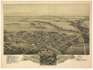 Perkasie, Pennsylvania 1894 Bird's Eye View - Old Map Reprint