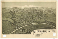 Pitcairn, Pennsylvania 1901 Bird's Eye View - Old Map Reprint