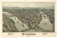 Pittsburgh, Pennsylvania 1902 Bird's Eye View - Old Map Reprint