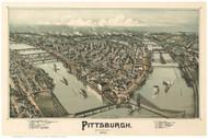 Pittsburgh, Pennsylvania 1902 Bird's Eye View - Old Map Reprint