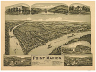 Point Marion, Pennsylvania 1902 Bird's Eye View - Old Map Reprint