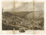 Pottsville, Pennsylvania 1833 Bird's Eye View - Old Map Reprint