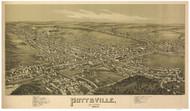Pottsville, Pennsylvania 1889 Bird's Eye View - Old Map Reprint