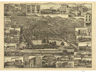Reading, Pennsylvania 1881 Bird's Eye View - Old Map Reprint