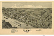 Roscoe, Pennsylvania 1902 Bird's Eye View - Old Map Reprint