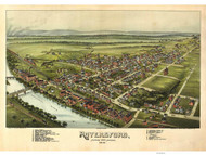 Royersford, Pennsylvania 1893 Bird's Eye View - Old Map Reprint
