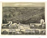 Shenandoah, Pennsylvania 1889 Bird's Eye View - Old Map Reprint