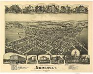 Somerset, Pennsylvania 1900 Bird's Eye View - Old Map Reprint