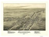 Souderton, Pennsylvania 1894 Bird's Eye View - Old Map Reprint