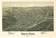 South Fork, Pennsylvania 1900 Bird's Eye View - Old Map Reprint