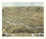 Titusville, Pennsylvania 1871 Bird's Eye View - Old Map Reprint