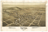 Topton, Pennsylvania 1893 Bird's Eye View - Old Map Reprint
