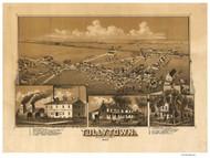 Tullytown, Pennsylvania 1887 Bird's Eye View - Old Map Reprint