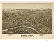 Turtle Creek, Pennsylvania 1897 Bird's Eye View - Old Map Reprint