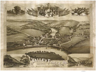 Valley Forge, Pennsylvania 1890 Bird's Eye View - Old Map Reprint