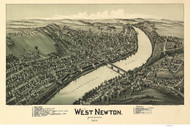 West Newton, Pennsylvania 1900 Bird's Eye View - Old Map Reprint