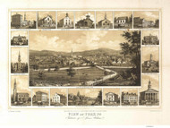 York, Pennsylvania 1852 Bird's Eye View - Old Map Reprint