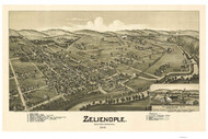 Zeleinople, Pennsylvania 1901 Bird's Eye View - Old Map Reprint