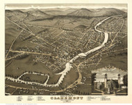 Claremont, New Hampshire 1877 Bird's Eye View - Old Map Reprint