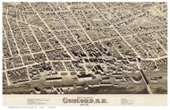 Concord (downtown), New Hampshire 1875 Bird's Eye View - Old Map Custom Print