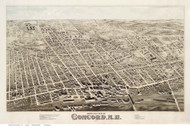 Concord, New Hampshire 1875 Bird's Eye View - Old Map Reprint