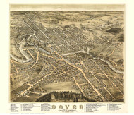 Dover, New Hampshire 1877 Bird's Eye View - Old Map Reprint