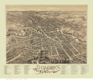 Dover, New Hampshire 1888 Bird's Eye View - Old Map Reprint