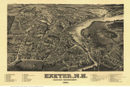 Exeter, New Hampshire 1884 Bird's Eye View - Old Map Reprint