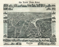 Exeter, New Hampshire 1896 Bird's Eye View - Old Map Reprint