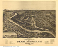 Franklin & Franklin Falls, New Hampshire 1884 Bird's Eye View - Old Map Reprint