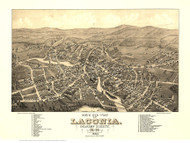 Laconia, New Hampshire 1883 Bird's Eye View - Old Map Reprint