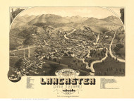 Lancaster, New Hampshire 1883 Bird's Eye View - Old Map Reprint