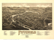 Pittsfield, New Hampshire 1884 Bird's Eye View - Old Map Reprint