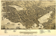 Portsmouth (close up), New Hampshire 1877 Bird's Eye View - Old Map Custom Print
