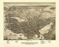 Portsmouth, New Hampshire 1877 Bird's Eye View - Old Map Reprint