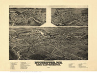 Rochester, Gonic & East Rochester, New Hampshire 1884 Bird's Eye View - Old Map Reprint