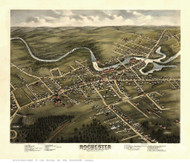 Rochester, New Hampshire 1877 Bird's Eye View - Old Map Reprint