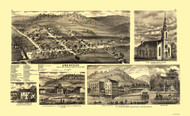 Amesville, Ohio 1875 Bird's Eye View