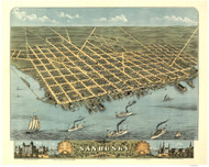 Sandusky, Ohio 1870 Bird's Eye View