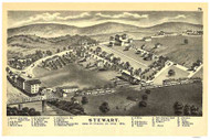 Stewart, Ohio 1875 Custom Bird's Eye View