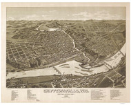 Chippewa Falls, Wisconsin 1886 Bird's Eye View