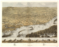 La Crosse, Wisconsin 1867 Bird's Eye View