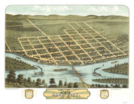 Sauk City, Wisconsin 1870 Bird's Eye View