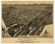 Superior, Wisconsin 1887 Bird's Eye View