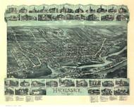 Hackensack, New Jersey 1896 Bird's Eye View