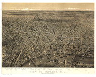 Newark, New Jersey 1874 Bird's Eye View